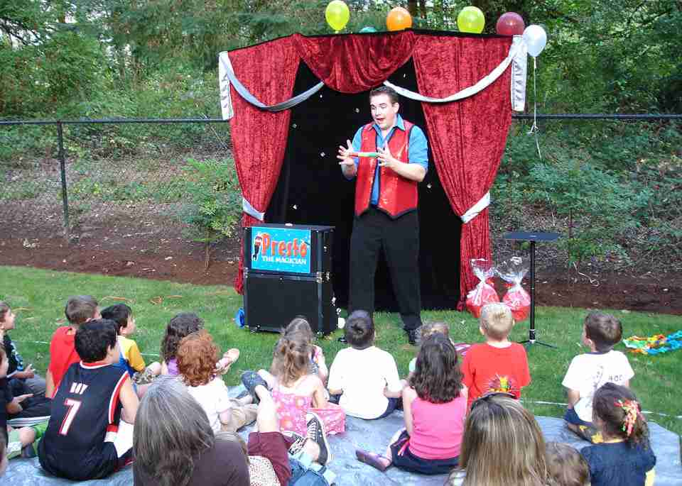 Presto the Magician provides fun entertainment at a birthday party