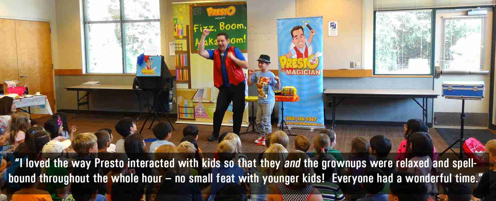Presto the Magician performs his comedy magic at Mukilteo Library in Seattle Washington