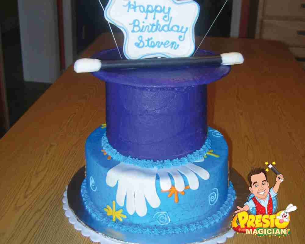 magic birthday cake with top hat, wand, white gloves