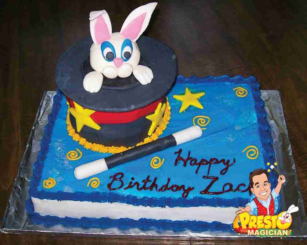 birthday cake with magic wand and bunny in hat