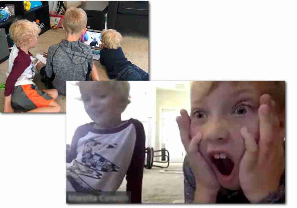 kids watch virtual magic show on computer