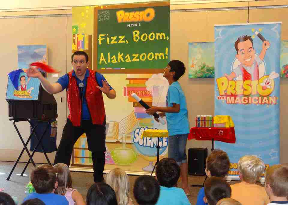 Presto performs at a library summer reading program
