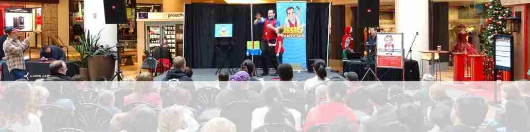 Presto the Magician performing his show on a stage at a mall in Portland
