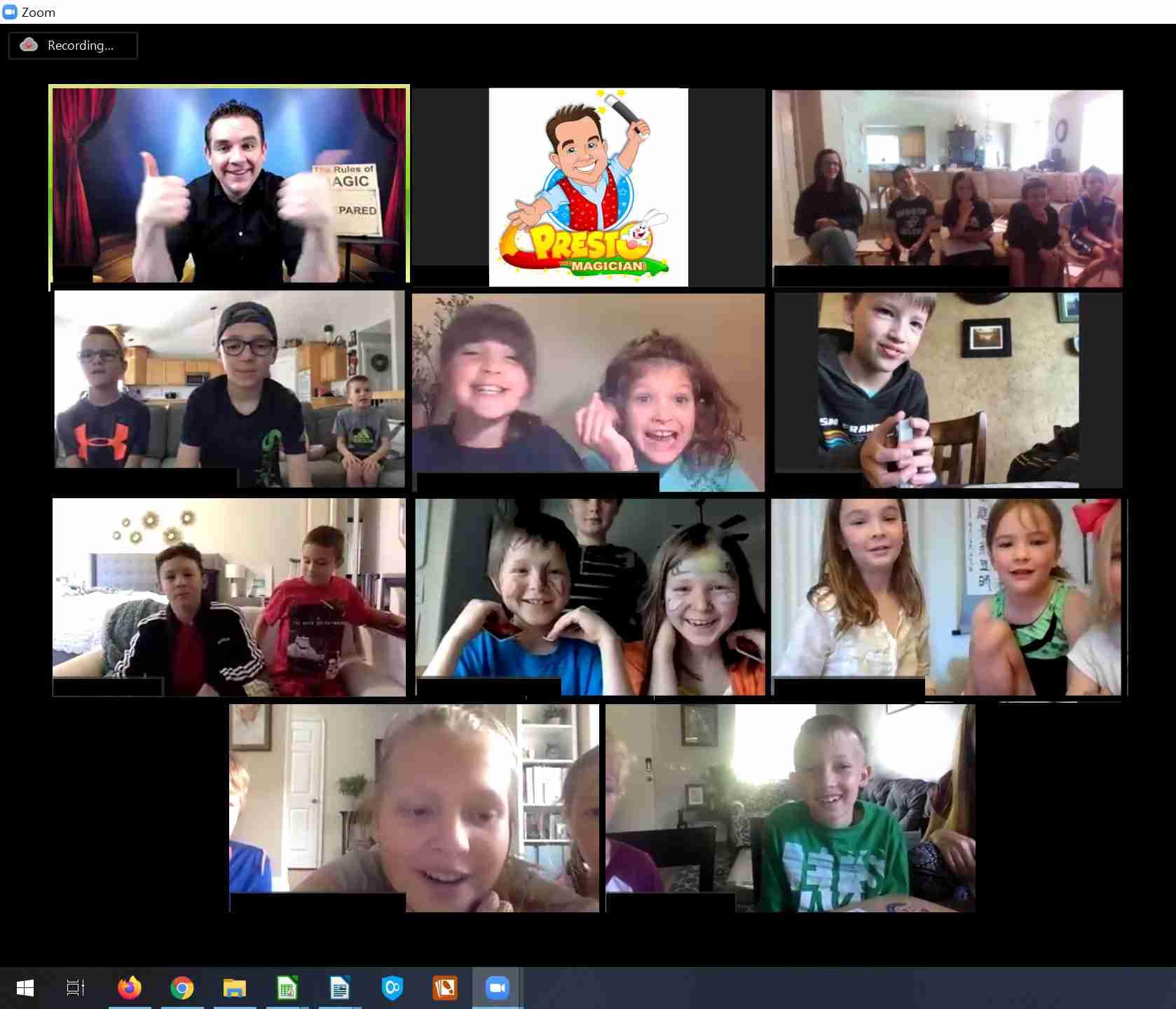 kids participate in virtual magic show
